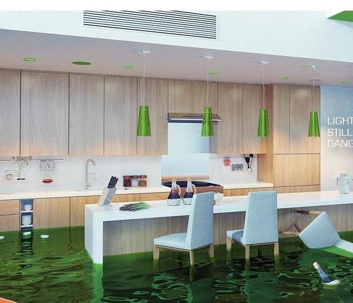 Kitchen with green water